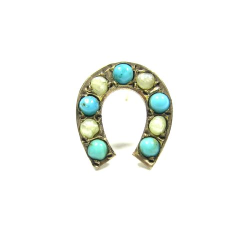 Horseshoe Turquoise Pearl Single Stud Earring​