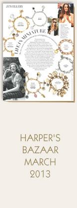 Annina-Vogel-Jewellery-Harpers-Bazaar-March-2013-Bespoke-Vintage-Gold-Charm-Bracelet-Travel-Shamrock-Aeroplane-Camera-Key-Wishbone